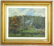 E.Franks Oil on Canvass Church Landscape. Circa 1910. Signed and dated E.Franks 1910 lower right. Framed 69 x 60 cm