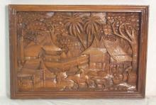 Hand Carved Teak Wood Panel from Thailand.  Large Intricately Hand Carved Thailand Village Scene in Traditional Thai Village Designs from Solid Teak Wood. 90 x 63 cm