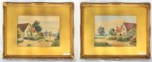 A Pair of Ed Lewis - Cottage Garden, 20th Century Watercolours, Signed Ed.Lewis, Approx 29cm x 22cm. Gilt Frames. (2 Items)