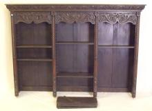 Victorian Carved Oak Bookcase Top. 19thc. The deep carved cornice over 3 bays each flanked by carved barley twist columns housing 7 adjustable shelves. Height 49.5 in.  Width 70 in. Depth 12.5 in