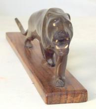 Vintage Asian Carved Buffalo Horn Stalking Tiger Figurine on Wood Plinth. 20thc. Length 27.5 cm.
