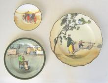 Royal Doulton Series Ware Very Scarce 'Fireside' Plate, 'Coaching Days' Saucer,Old English Scenes 'The Gleaners' Plate. (3 items)