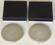 Boxed Pair of Silver Wine Glass / Bottle Coasters c.1995. Hallmarked Birmingham for W I Broadway & Co. 65g Gross (2 items)