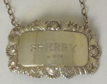 Silver 'SHERRY' Decanter Label c.1973. Hallmarked London for D.J. Silver 10g