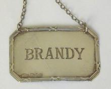 Silver 'BRANDY' Decanter Label c.1994. Hallmarked London for Arthur Price and Co.