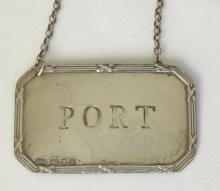 Silver 'PORT' Decanter Label c.1998. Hallmarked London for Arthur Price and Co.