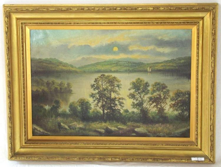 Alfred Worthington 1835-1925. Local Interest Oil on Canvass 'Sunset over Bala Lake'. 19thc. Signed Alfred Worthington Lower Left.. Original Frame 29 x 22 ins (73.5 x 56 cms) PROVENANCE - From the artists family.