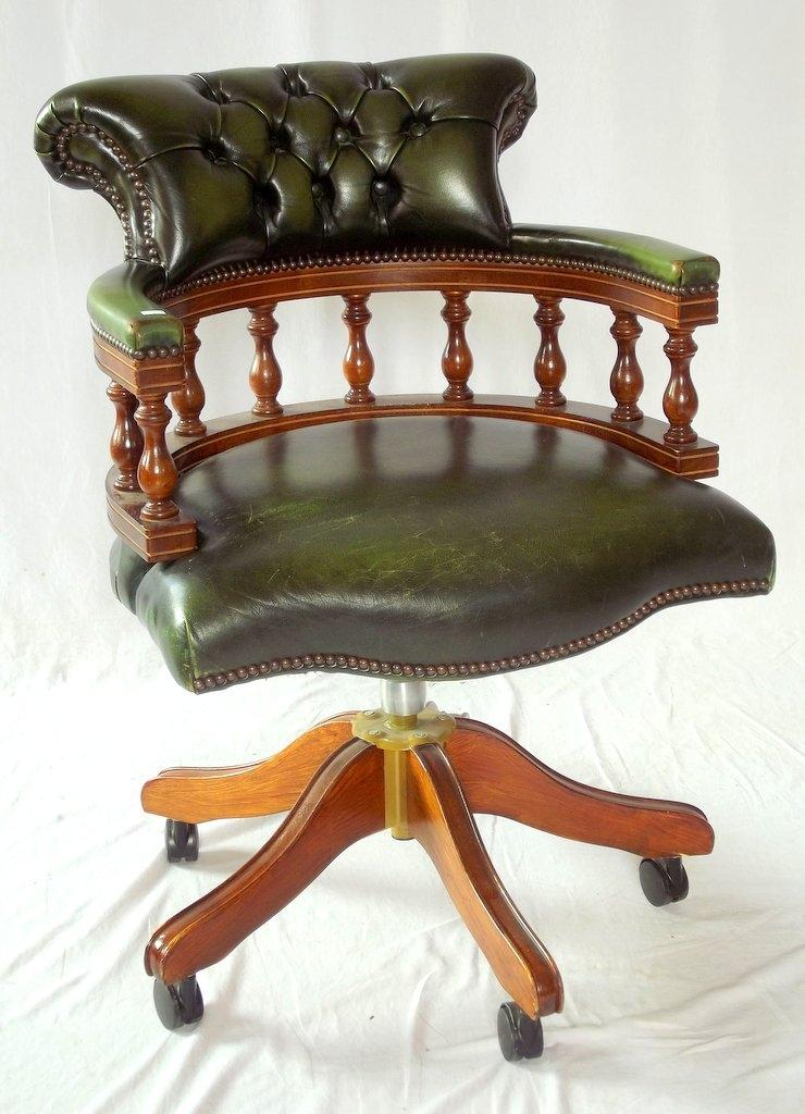 lot 392 green leather captains swivel desk chair 20thc height 34