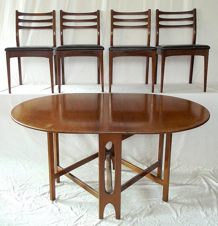G Plan Style Drop Leaf Dining Table And 4 Matching Chairs