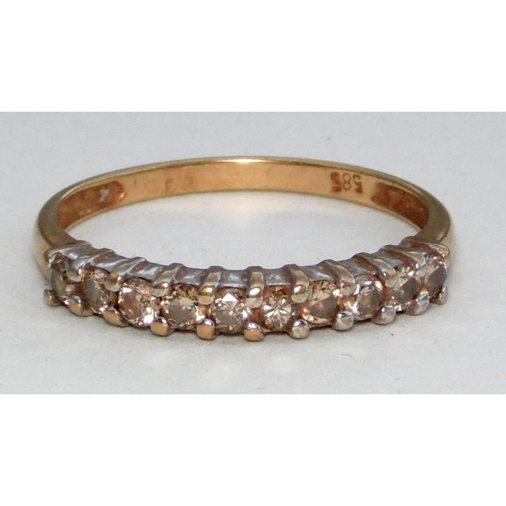Good 14ct Yellow Gold Chapagne Diamond Eternity Ring 0 30ct