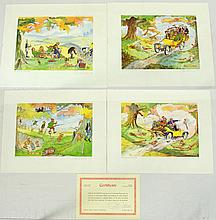 Christopher Hope Shooting Prints by Sally Mitchell Fine Arts. Circa 1977. Limited Editions 158/500. Signed lower right in pencil by Christopher Hope with Sally Mitchell Certificate. (4 Items)