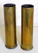 A Pair of WWI 75mm Shell Cases Dated 1915.   Height  31 cm. (2 Items)