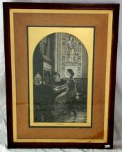 Charles Albert Waltner  Pre-Raphaelite Style  Etching  'Harmony' after Sir Frank Dicksee,  (1853-1928) Tho.s Agnew & Sons Publishers,  London, Feb, 20, 1880. Framed under glass  62  x 46 cm.