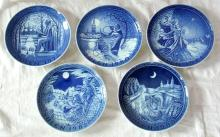 Collection of Copenhagen Christmas Wall  Plates for  1978.1980,1981,1982 & 1983. 1st  Quality. Diameter  18 cm.  (5 Items)