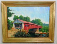 Mort Luby Chicago USA  Oil on Canvass  'Barrington Covered Bridge'. Signed M.Luby 94  lower right. Framed 30 x 24 inches.