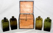 Georgian Pine Decanter Box Containing 4  Fitted Olive Green Tinted Rectangular Shaped  Sealed Bottles. Circa 1830s. Having star of  David and fish seal with the initials `IWL`  for Isaac Witwe Ling on 3 bottles. (5 Items)