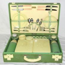 Vintage Harrods London Brexton Picnic Hamper  Set. Circa 1950s. Complete. 19.5 x 13 inches.