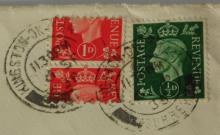 Great Britain KG VI 1d Scarlet  (SG 463) Coil  Stamp Showing Serrated Mis-Perf Used on  Cover 6th September 1938 Kingston Upon Thames  to Teddington with Normal 1/2d Green (SG  462).
