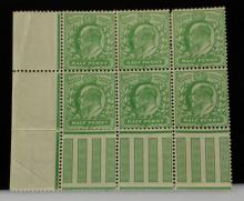 Great Britain Edward VII Marginal Block of 6  1/2d Pale Yellow Green SG 217 Spec M2(-)  Unlisted. (4 Stamps Unmounted)