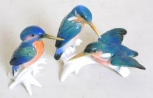 Karl Ens,Volkstedt,Germany Kingfisher  Figurines.  Circa 1950s.  Hand painted  detailing.  (2 Items)