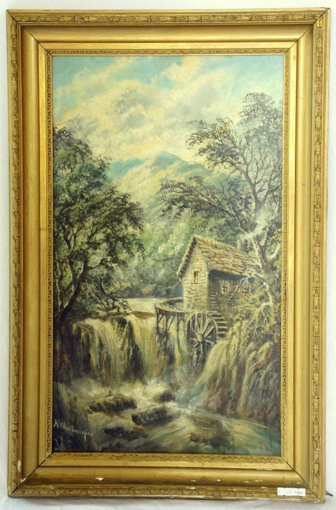 Alfred Worthington 1835-1925. Local Interest Oil on Board 'Pandy Mill Betws-y-Coed'. 19thc. Signed Alfred Worthington Lower Left.. Original Frame 30 x 19.5 ins (76 x 49.5 cms) PROVENANCE - From the artists family.