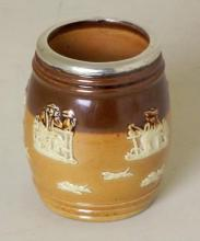 Silver Rimmed Doulton Lambeth Stoneware Match Holder. Circa 1898. Rim by N&G Neal. Hallmarked London.