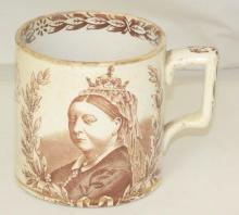 Antique Ford & Riley Burslem Queen Victoria Jubilee Mug. Circa 1897.