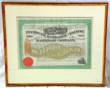Antique 1871 Plymouth, Kankakee and Pacific  Railroad Company $1000 Bond Payable in Gold  Coins. No 2171. Framed under glass  54 x 46  cm.