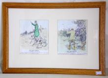 Fine Colour Dry Point Etching by George  Denholm Armour OBE British Artist (1864-1949)  A beautiful hand finished watercolour dry  point etching of  Past and Present A  Sportsman's Diary. Framed under glass  16 x11inches