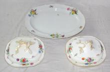 Antique Hand Painted Floral Meat Plate & 2 x  Tureens/Covers 19thc.  (5 Items)