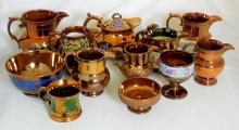 Antique Collection of Gold Lustre Ware  Pottery to Include: Jugs.Teapot,Bowls Etc.  (12 Items)