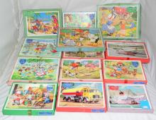 Collection of Vintage Victory Wooden Jigsaw  Puzzles.  (13 Items)