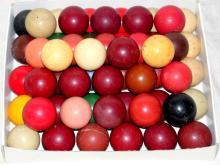 Good Collection of  52 Antique Billiard Balls  Including  the Rarer Black Ball. 50mm  Diameter. 19thc   (52 Items)