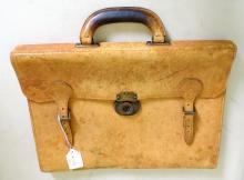 Antique Mens Mid Tan Leather Equestrian Coach  Hide Briefcase . 41 x 30cm.