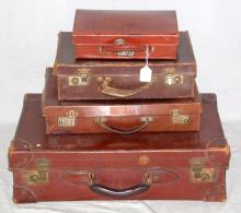 4  Vintage Brown Leather Suitcases .Length  12