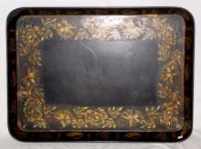 Large 19th century Victorian Papier-mâché   Tray with Gilt Decoration. Circa 1850s. 32 x  24 Inches.