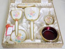 Regent of London Embroidered 6 Piece Dressing  Table Set in Original Presentation Case.