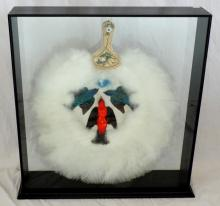 Taxidermy Victorian Birds of Paradise Ostrich  Feather Fan in Ebonised Case. 19thc. Fan 22  x 18 inches.