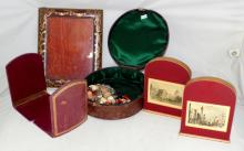Antique Leather Oval Jewellery Box with  Costume Jewellery. Also Tooled Leather  Photograph Frame. 2 x Pairs of Bookends. (6  Items)