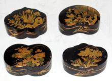 4 Antique Chinese Chinoiserie Black  Lacquer/Gilt  Painted  Wooden Trinket Boxes.  Early 1900s.  (4 Items)