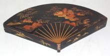 Antique Chinese Chinoiserie Black  Lacquer/Gilt  Painted Fan Shaped Wooden Box.  19thc.   16 x 9.75 inches.