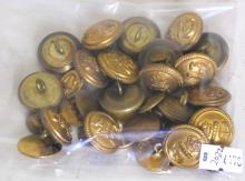 Collection of Military & Naval Brass Buttons.  (33 Buttons)