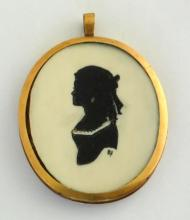 Georgian Hand Painted on Ivorine Mourning  Portrait Miniature Silhouette Young Lady.  Early 19thc. Monogrammed BF. Woven hair to  reverse. 2 3/4 x 2 3/8 inches.