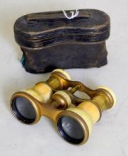 Continental Antique Pair of  Victorian Ivory  Opera Glasses with Original Leather Case.  Working order.