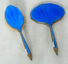 Silver Gilt Sapphire Blue Guilloche Hair   Brush and Hand Mirror. Circa1930s.