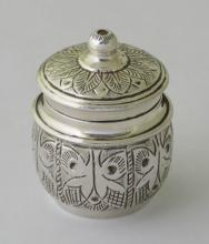 Asian Sterling Silver Repousse Spice Pot with  Hardwood Liner. 51gm Gross.