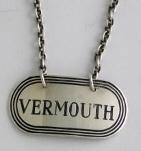 Sterling Silver 'Vermouth' Decanter Label by  Turner & Simpson. Hallmarked Birmingham 20th.