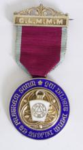 Silver Gilt & Enamelled Masonic Jewel Grand  Lodge of  Master Masons. Presented to Bro  Christopher Danby 'Steward 1927'.  With  silver gilt bar and ribbon by Spencer & Co.   Hallmarked Birmingham 1926. Boxed.