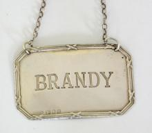 Sterling Silver 'Brandy Label' by Arthur  Price. 20thc.  Hallmarked London. Boxed.