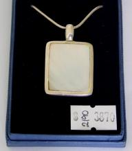 Sterling Silver Mounted Mother of Pearl  Pendant Necklace.Hallmarked Birmingham. 17  inch chain. Boxed.